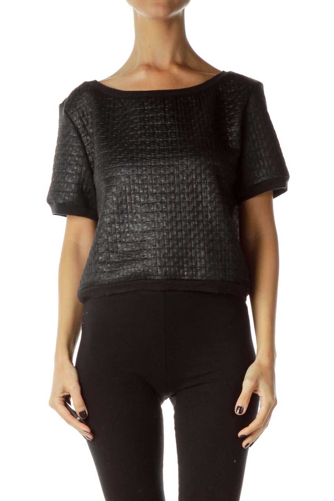 Black Textured Short Sleeve Sweatshrit