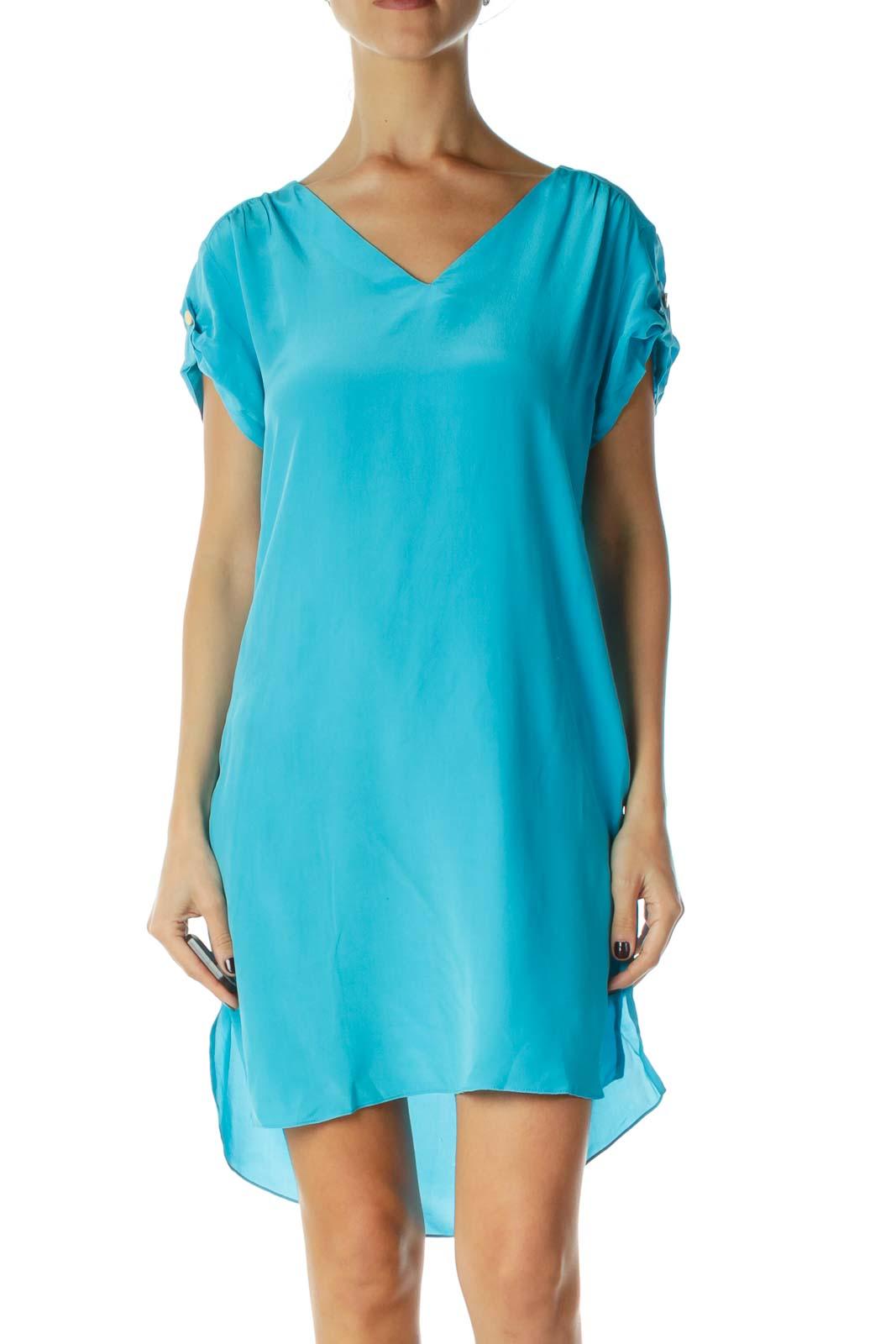 Blue V-Neck Silk Shift Dress