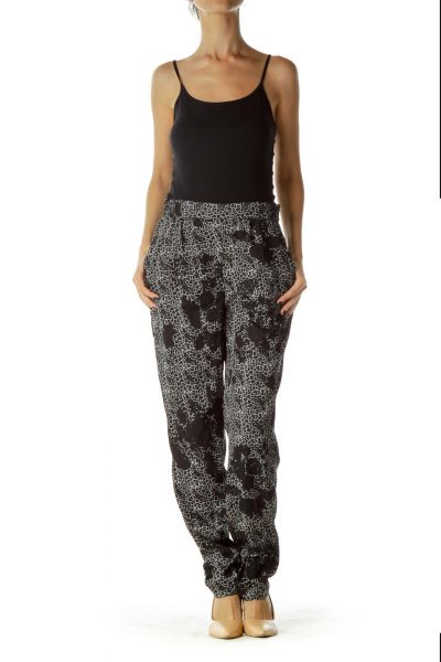 Black White Printed Tapered Pants