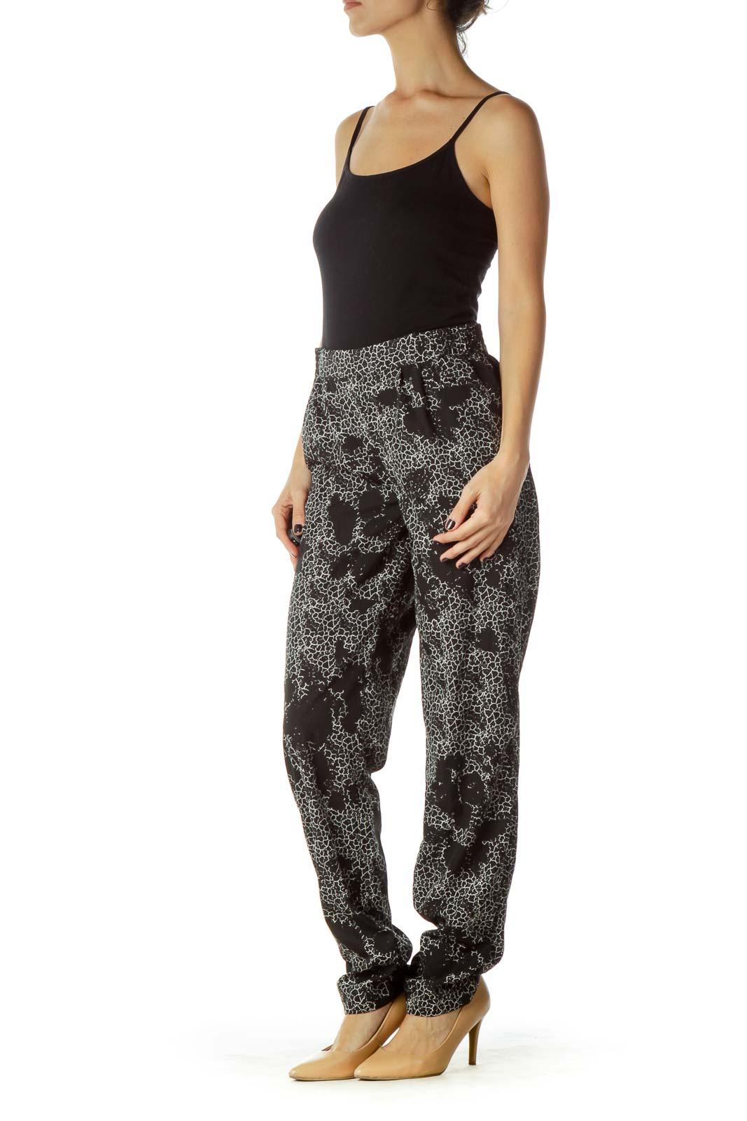 Black White Printed Tapered Pants