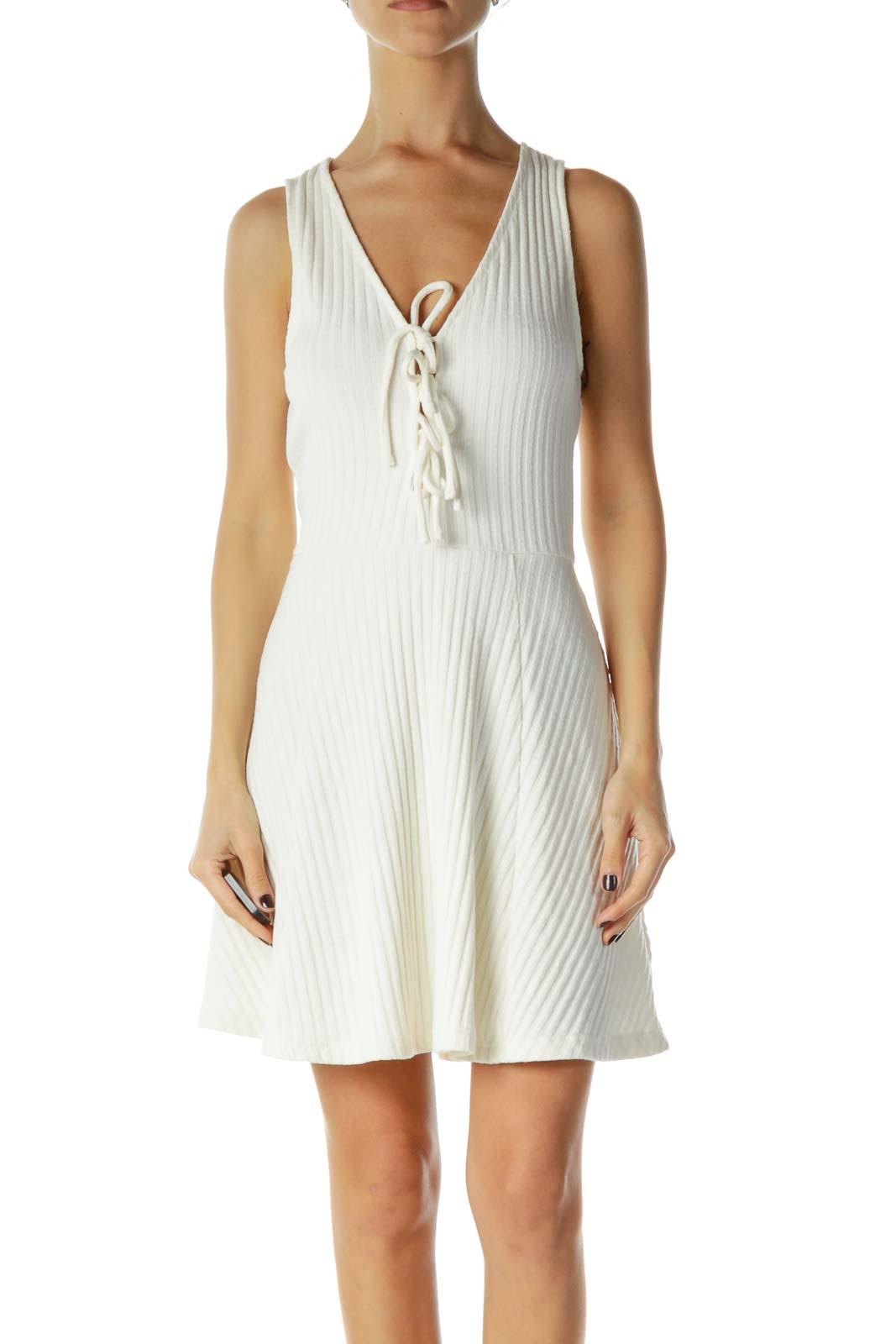 Cream Knit Racerback Day Dress