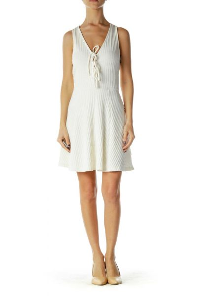 Cream Knit Racerback Day Dress