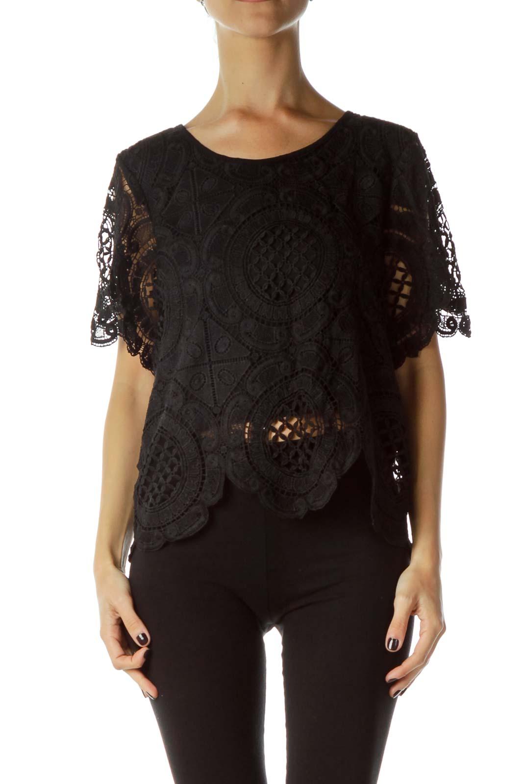 Black Lace Shortsleeve Blouse