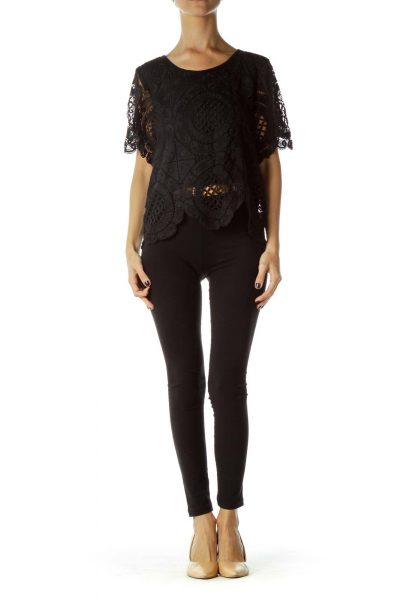 Black Lace Shortsleeve Blouse