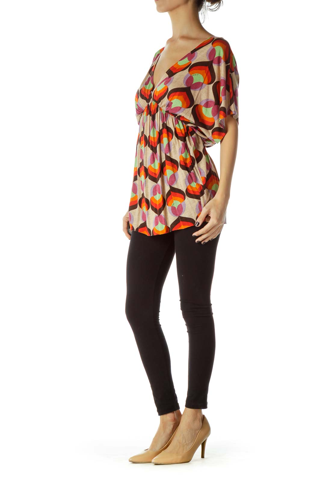 Brown Red Print Blouse
