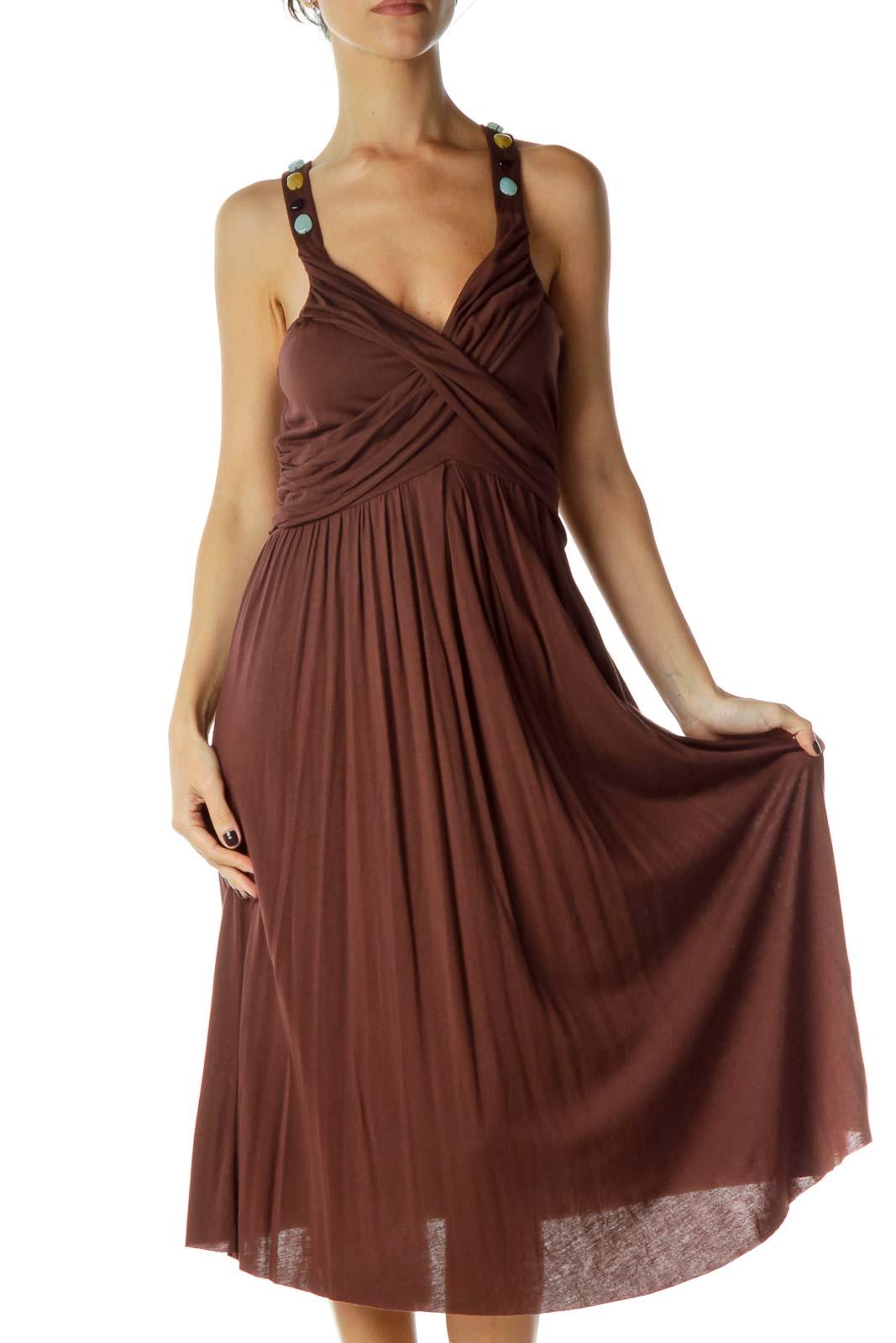 Brown Beaded V-Neck Day Dress