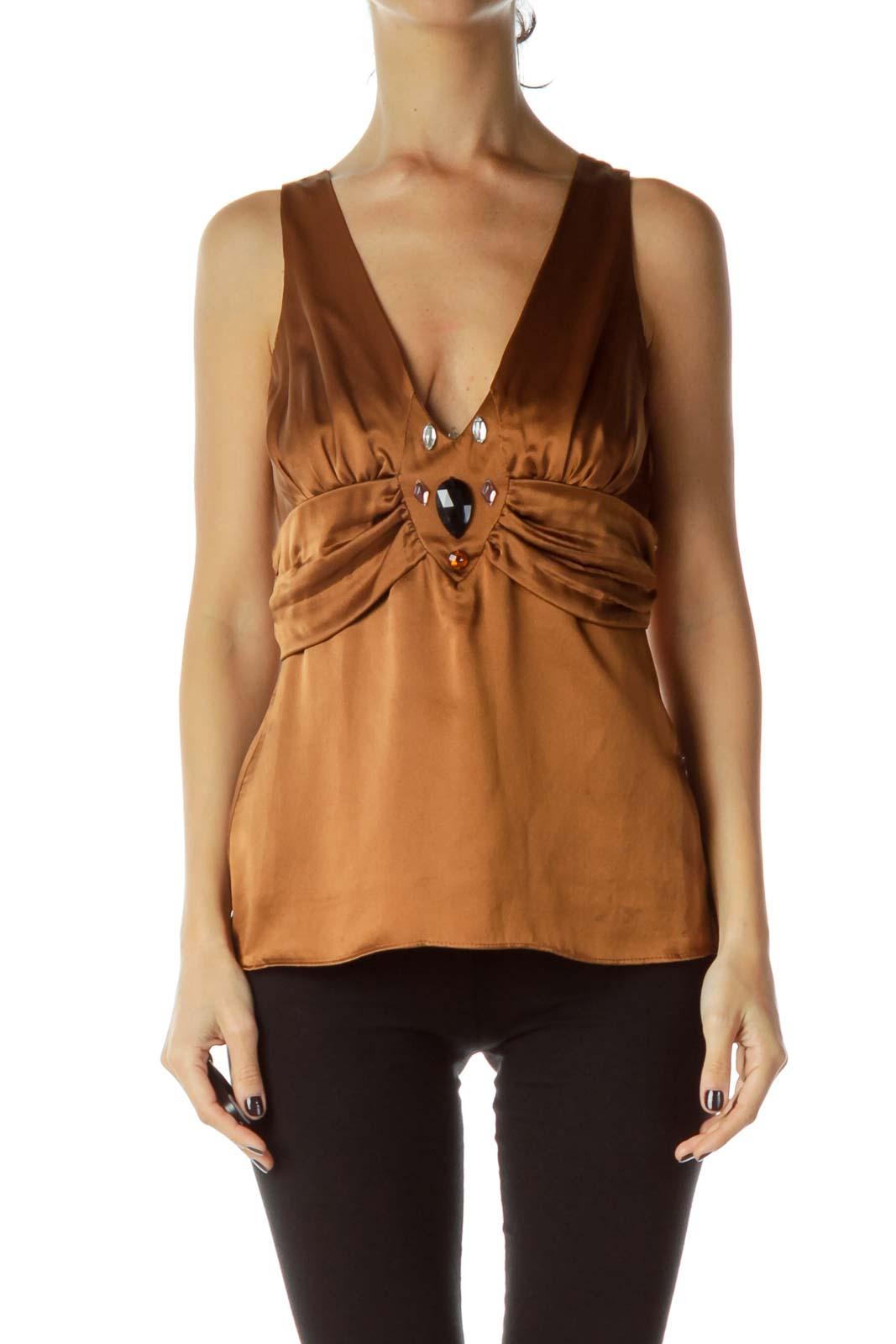 Brown Silk Halter Blouse