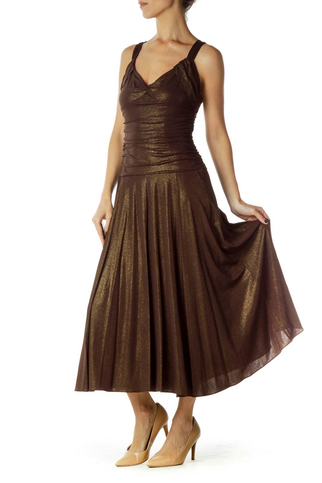 Brown Gold Evening Dress