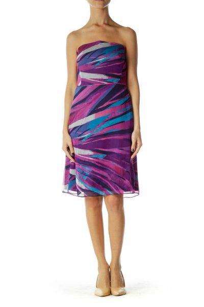 afe683763213 Purple Blue Printed Strapless Dress Purple Blue Printed Strapless Dress