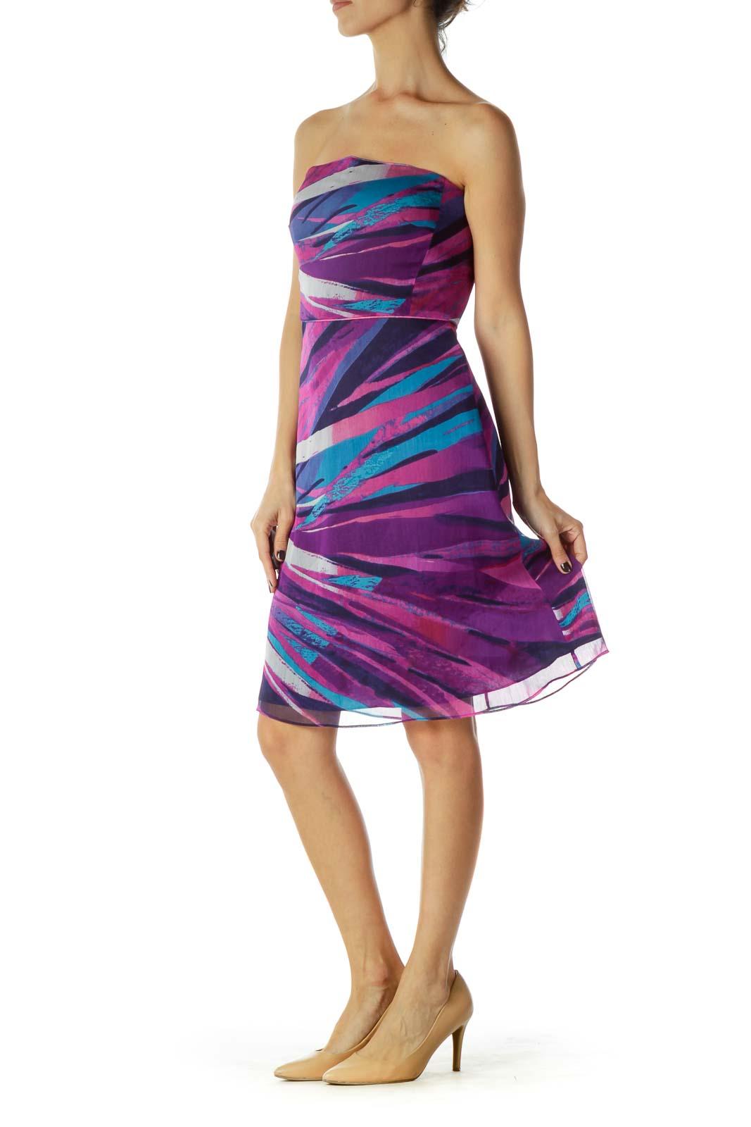 Purple Blue Printed Strapless Dress