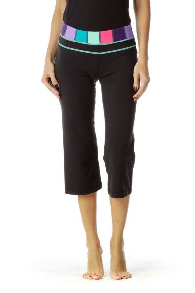Black Cropped Yoga Pants with Multicolor Band