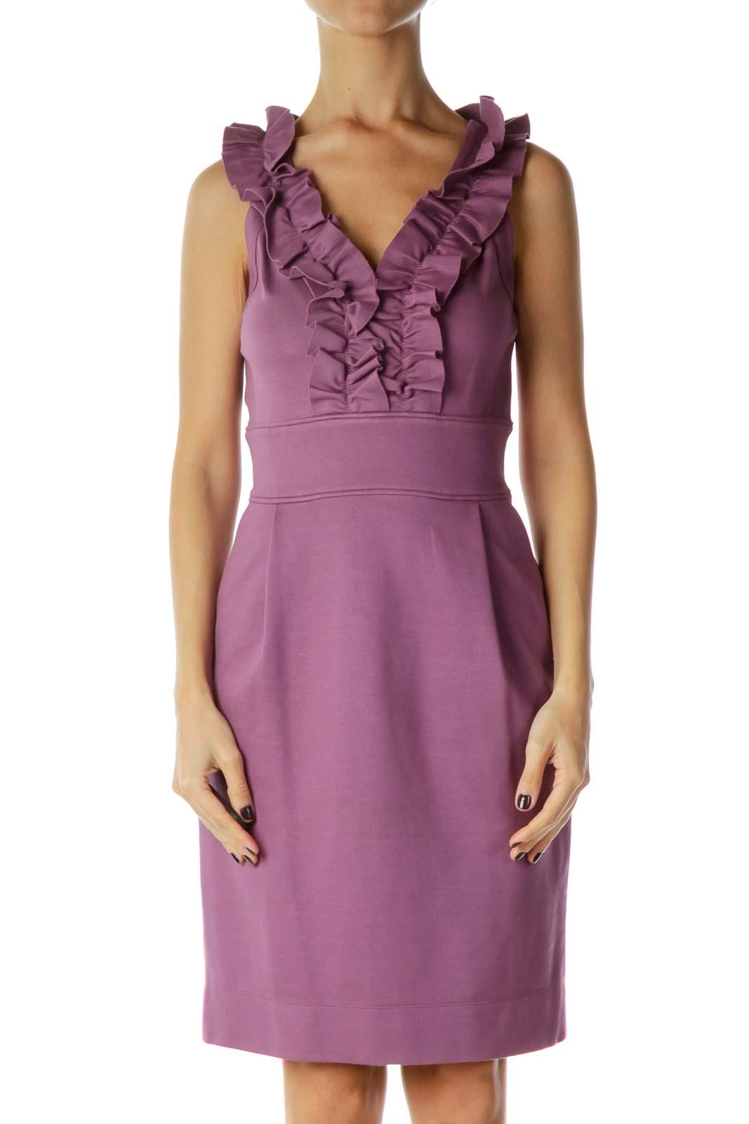 Purple Ruffled Work Dress