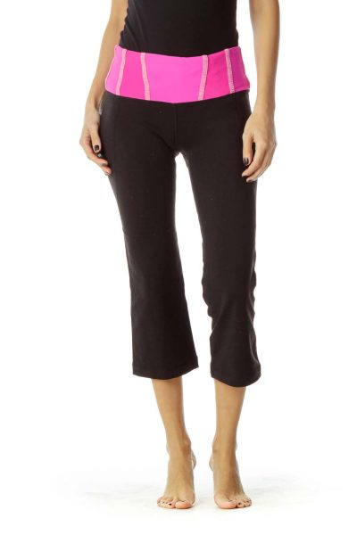 Black Pink Cropped Yoga Pants