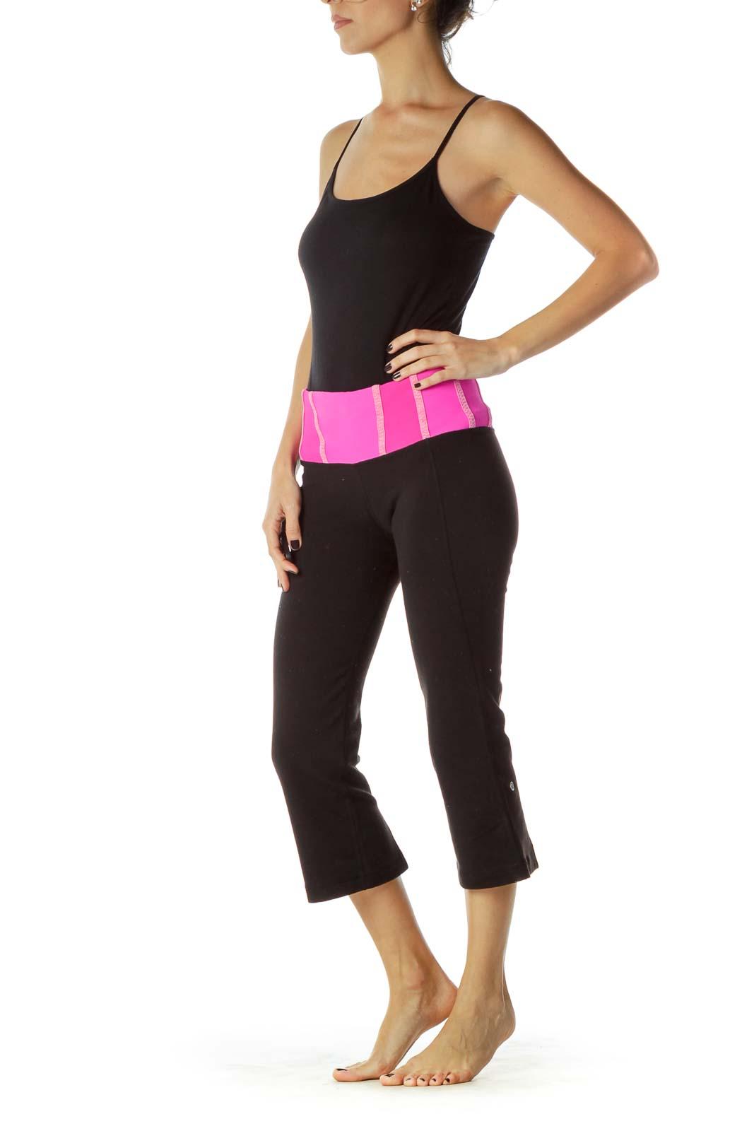 Black Pink Cropped Yoga Pants