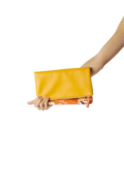 Yellow Leather & Canvas Flower Print Clutch