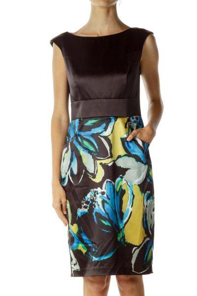 Black Multicolor Pencil Dress
