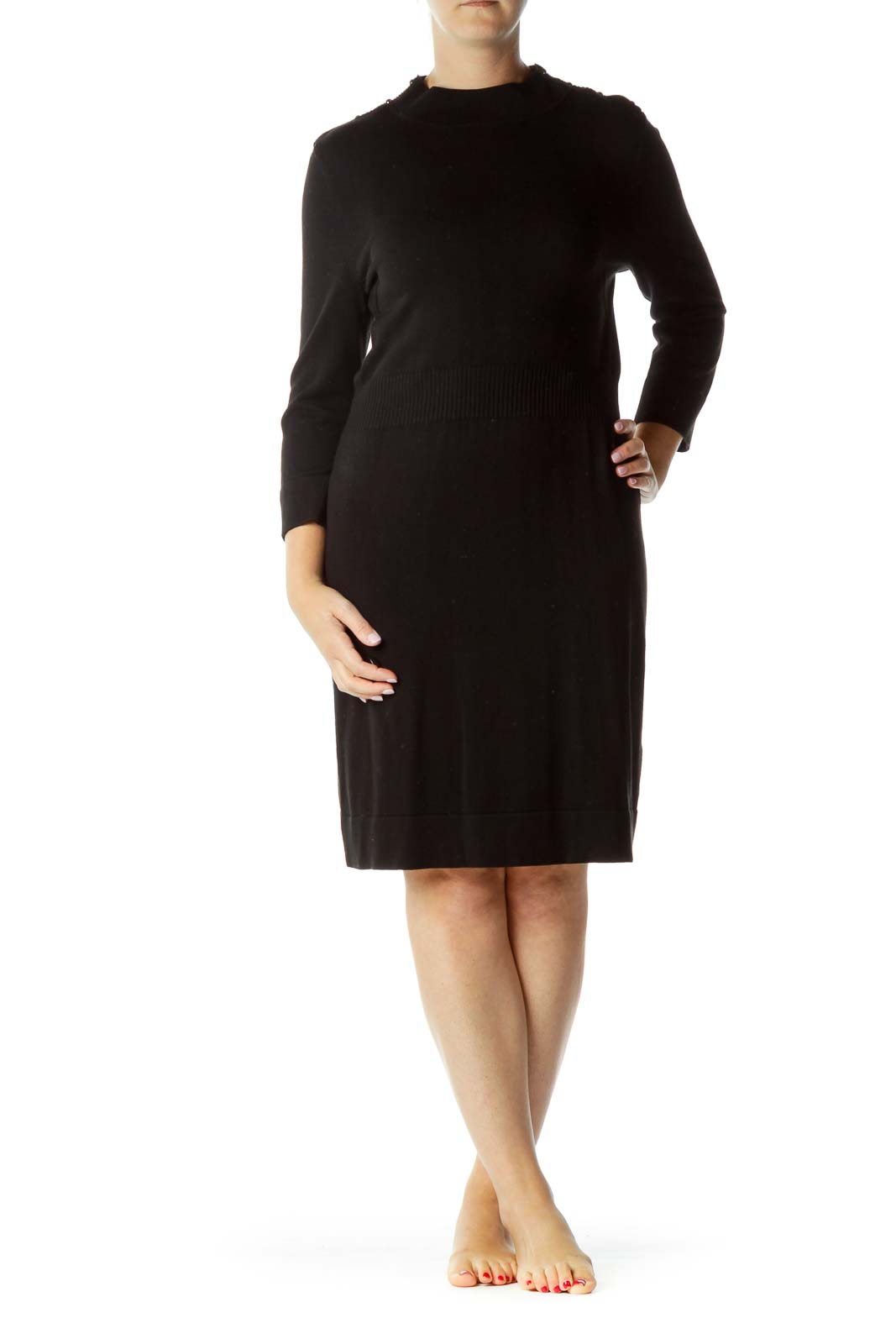 Black Midi Knit Dress