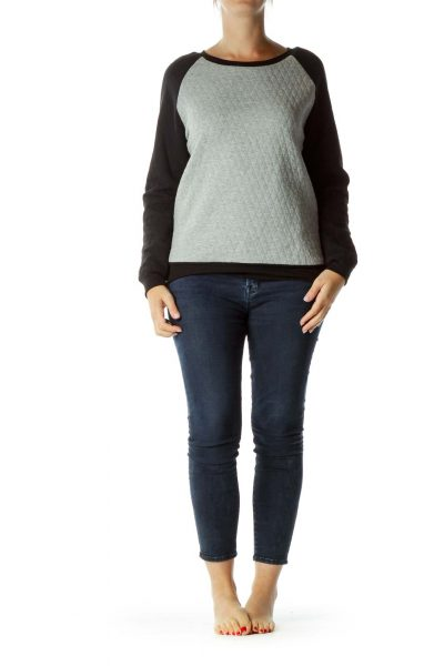 Gray Black Quilted Sweatshirt