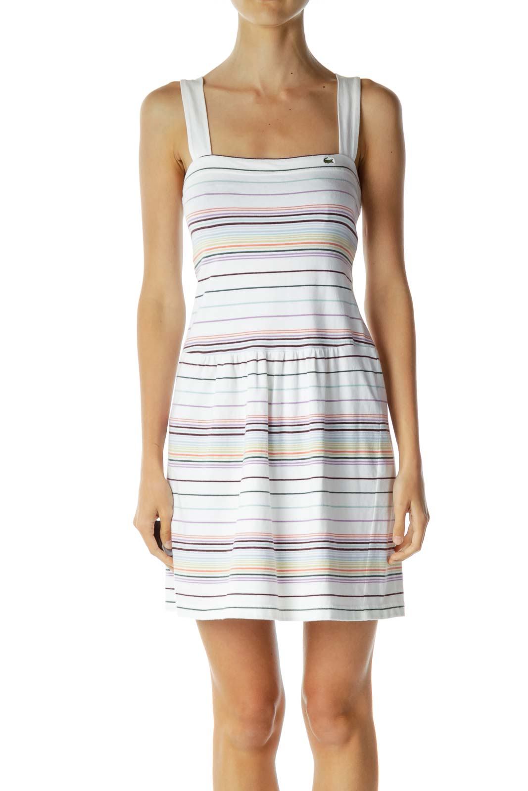 White Multicolor Striped Dress