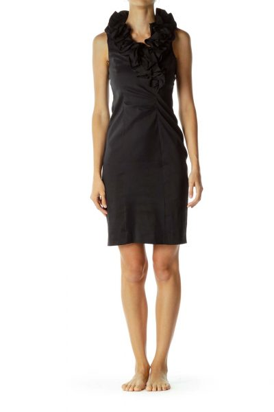 Black Ruffle Neckline Cocktail Dress