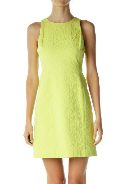 Neon Yellow Textured Sheath Dress