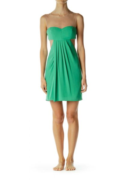 Green Mesh Cocktail Dress