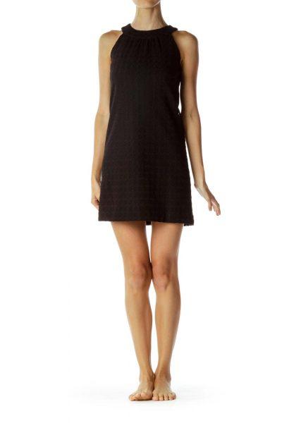 Black Halter Embossed Shift Dress