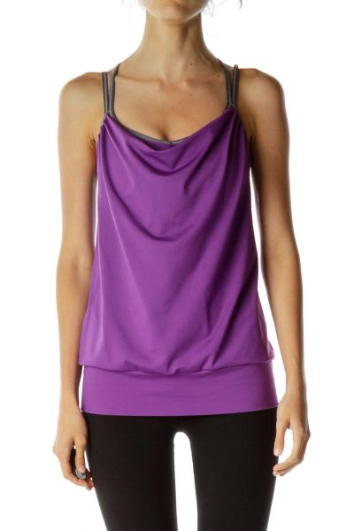 Purple Gray Sports Bra Top