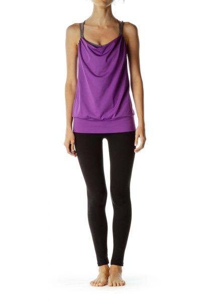 Purple Gray Sports Bra Top