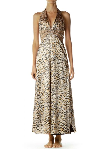 Brown Animal Print Beaded Halter Dress