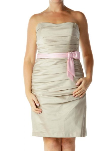 Beige Strapless Cocktail Dress