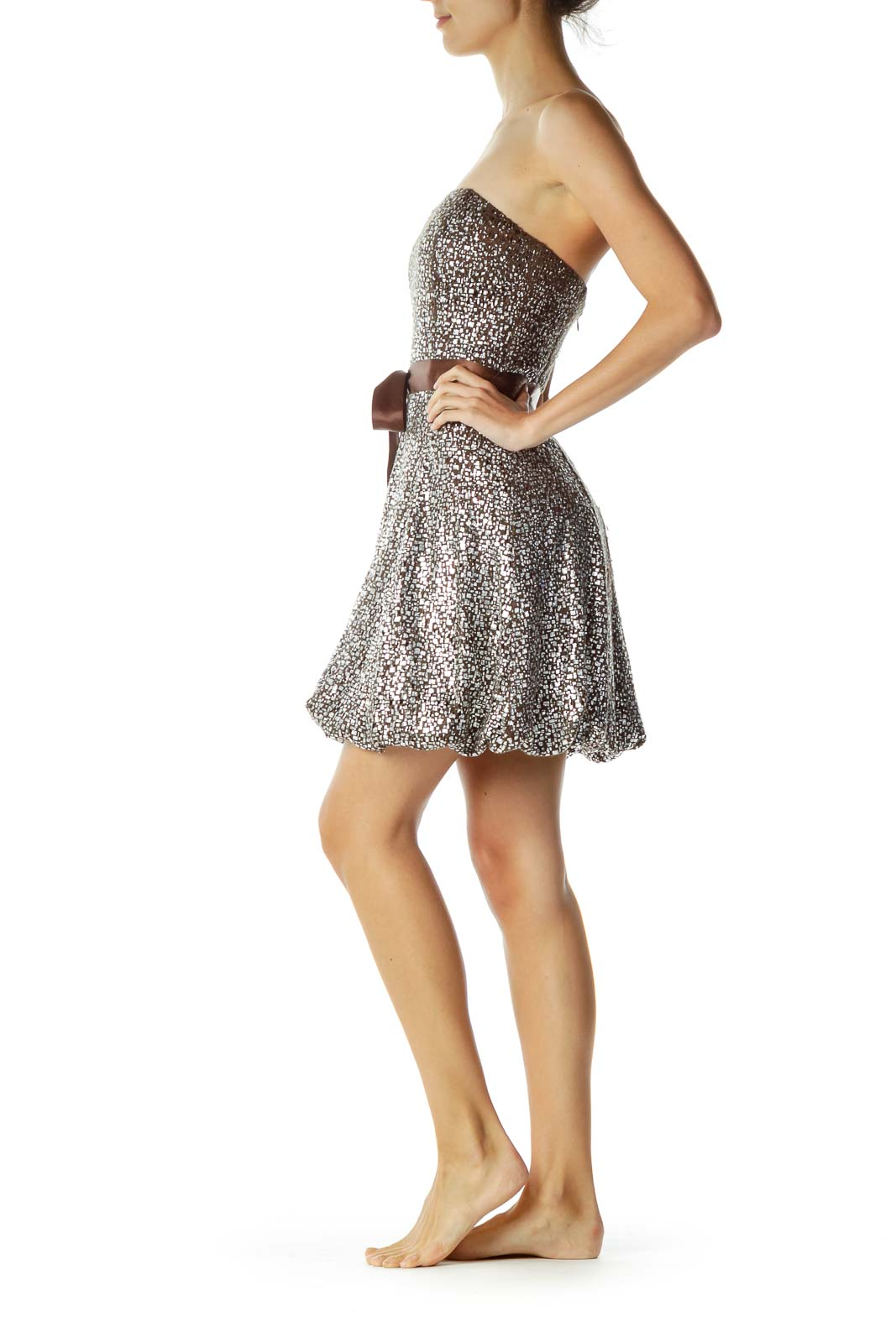 Brown Strapless Cocktail Dress