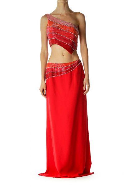Red Beaded Off Shoulder Langha Gown