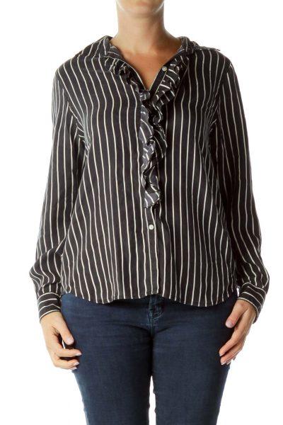Black White Ruffled Shirt