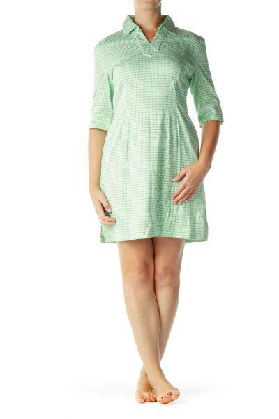 Green Multicolor Collared Dress