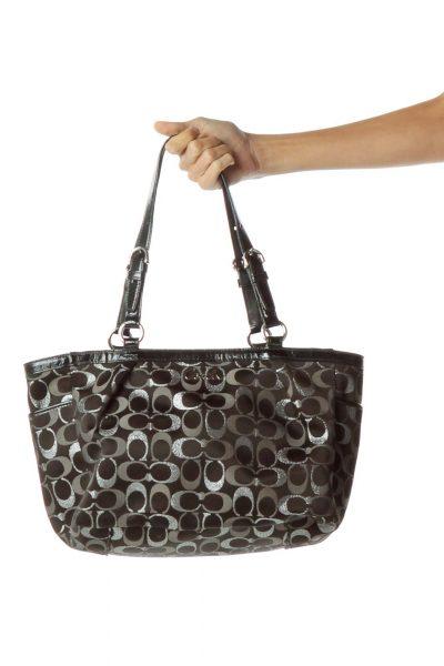 Black Sliver Monogrammed Tote Bag