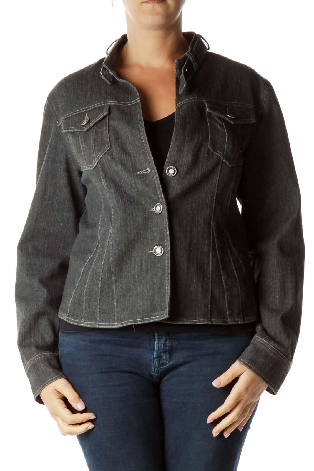 Gray Denim Button Down Jacket