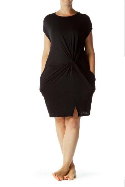 Black Scrunch Detail Jersey Dress