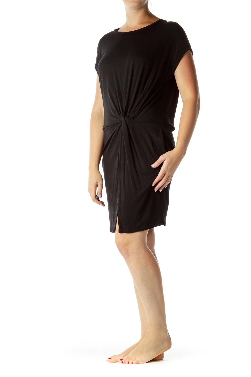 Black Scrunch Detail Jersey Dress