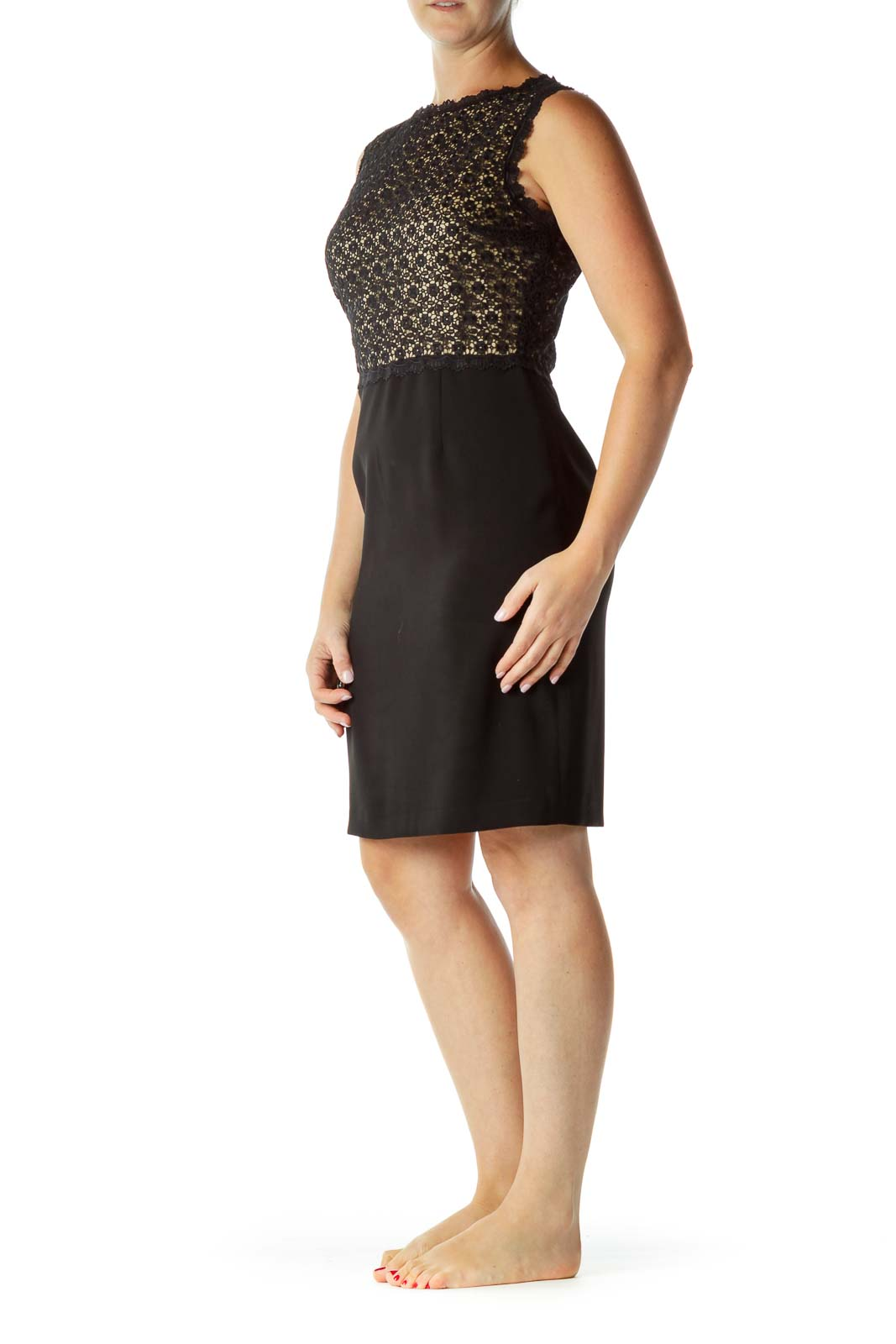 Black Beige Lace Top Cocktail Dress