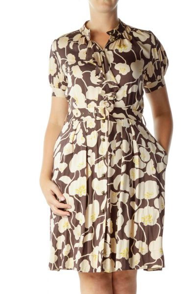 Brown Beige Flower Print Belted Dress
