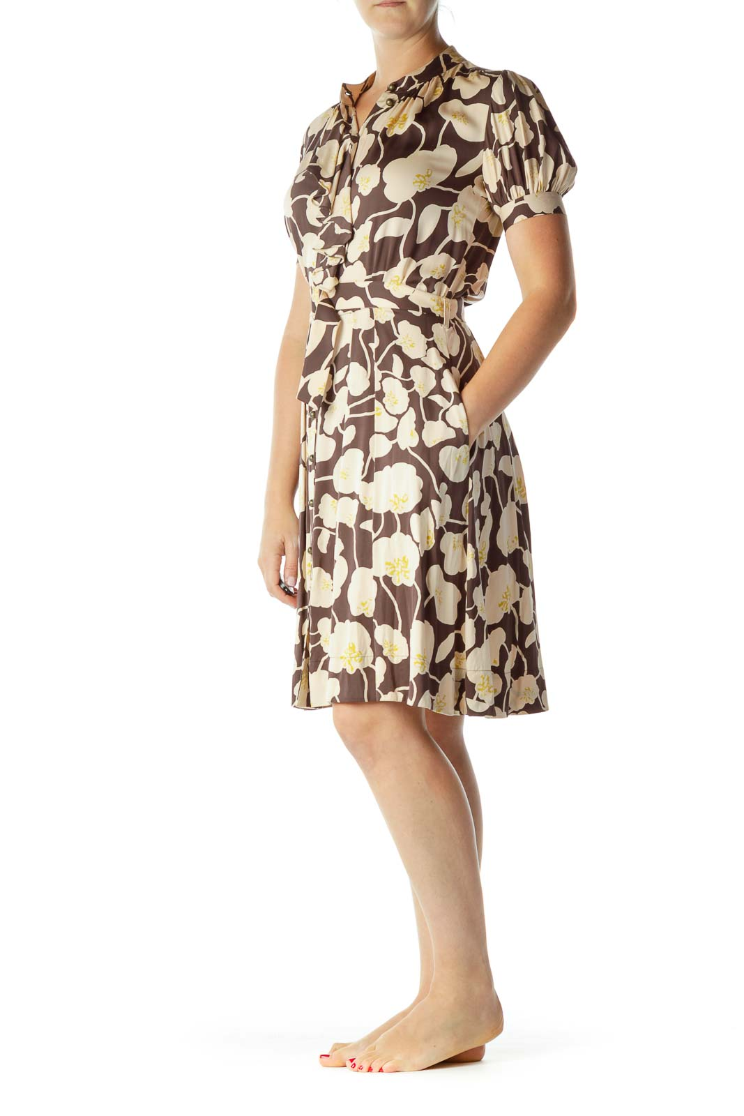 Brown Beige Flower Print Belted Dress