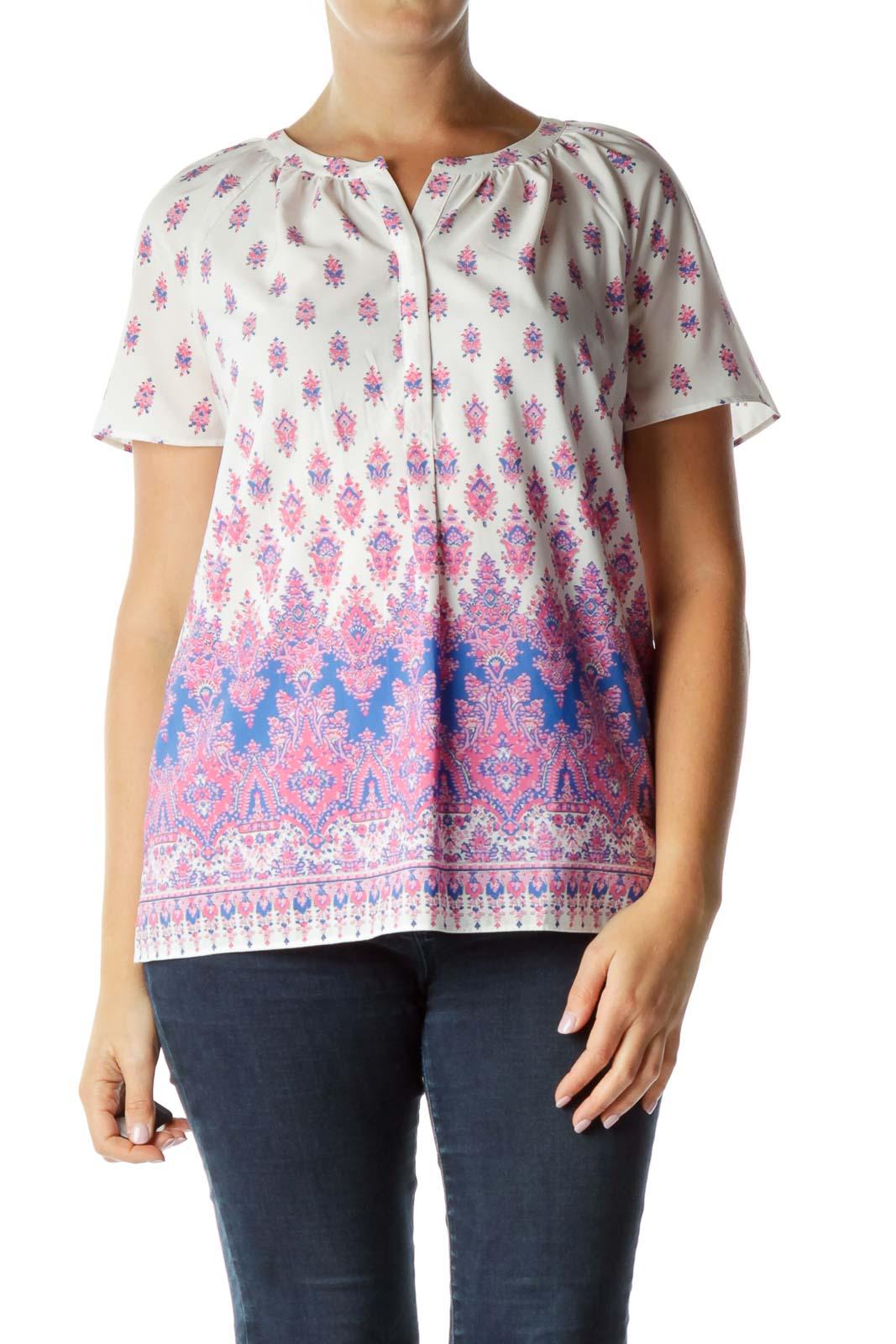 Pink Blue Print Blouse