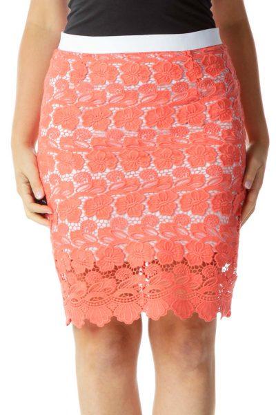 Peach Crocheted Pencil Skirt