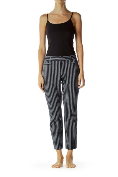 Blue White Pinstripe Skinny Pants