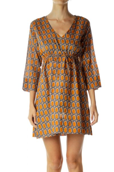 Orange Blue Printed Day Dress