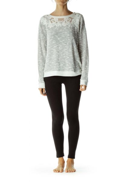 Gray White Lace Mottled Sweat Shirt