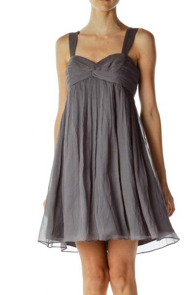 Gray Pleated Silk Sweetheart Cocktail Dress