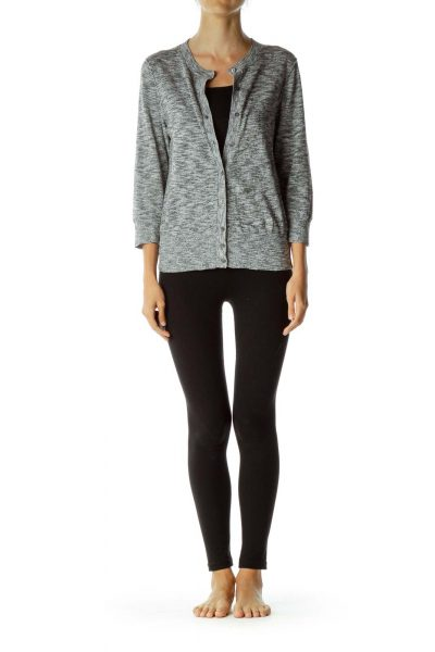 Gray Mottled Buttoned Cardigan