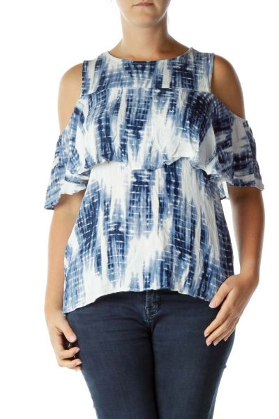Blue White Cold Shoulder Top